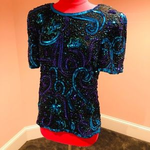 Vintage AWESOME sequin 80s silk Top